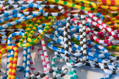 Striped Colorful Paper Clips In A Pile Stock Photo