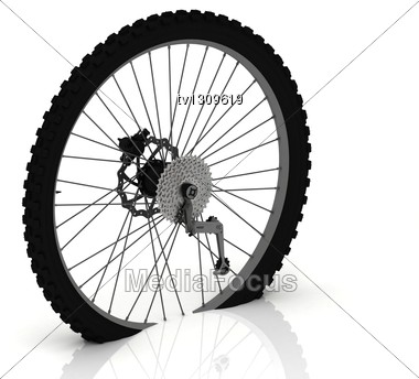 Studded Wheel Of A Sports Bike With Gears And Levers Stock Photo