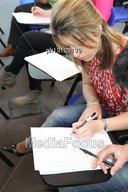 Student Doing Exam Stock Photo