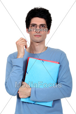 Student Holding Files Stock Photo