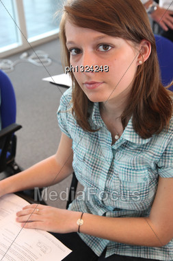 Student In Class Stock Photo