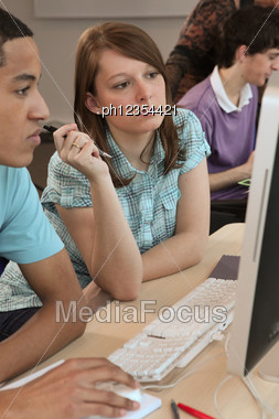 Students At A Computer Stock Photo