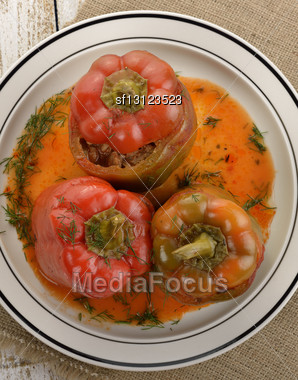 Stuffed Sweet Peppers On A Plate,Top View Stock Photo