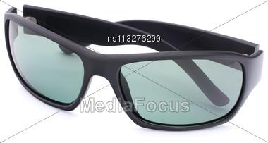 Stylish Black Sunglasses Isolated On White Background Cutout Stock Photo
