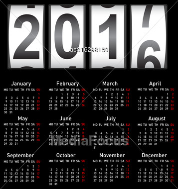 Stylish Calendar For 2017. Week Starts On Monday Stock Photo