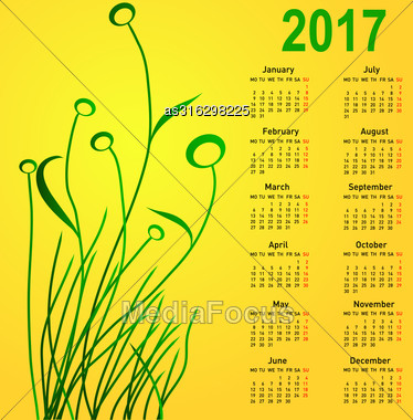 Stylish Calendar With Flowers For 2017. Week Starts On Monday Stock Photo