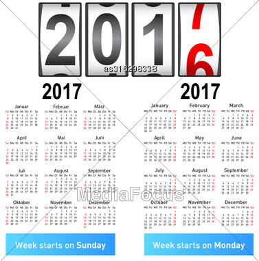 Stylish German Calendar For 2017. In German And English Stock Photo