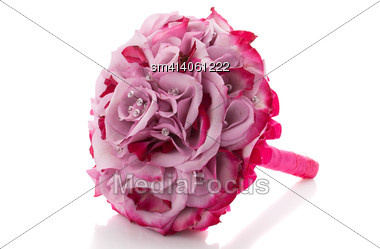 Stylish Pink Wedding Bouquet Isolated Over White Background Stock Photo