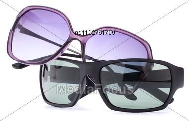 Stylish Sunglasses Pair Isolated On White Background Cutout Stock Photo