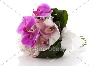 Stylish Wedding Bouquet With Orchids Isolated Over White Background Stock Photo