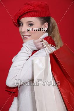 Stylish Winter Shopper Stock Photo