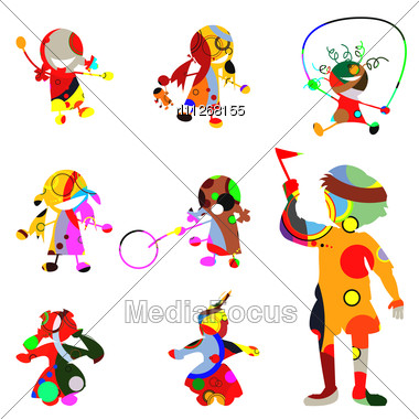 Stylized Children Silhouettes Made From Circles Stock Photo