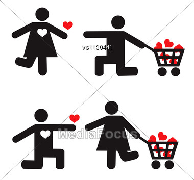 Stylized Man And Woman Vector Icons. Love Concept Stock Photo