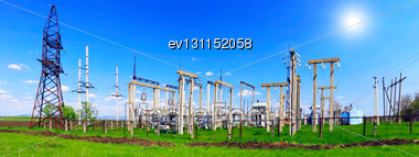 Substation And Power Transmission Lines. Panorama Stock Photo