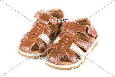 Summer Baby Shoes Isolated On A White Stock Photo