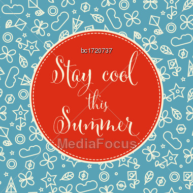Summer Background With Doodle Floral Elements. Vector Format Stock Photo