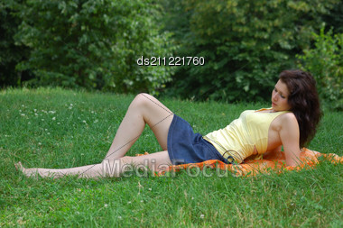 Summer - Beautiful Female Outdoors In The Park Stock Photo