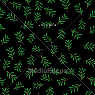 Summer Floral Texture Isolated On Black Background. Seamless Random Leaves Pattern Stock Photo