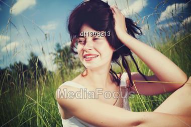 Summer Fun. Funny Female Portrait Stock Photo
