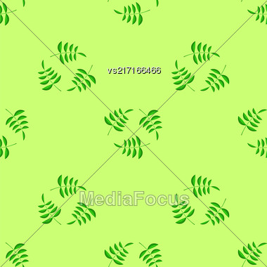 Summer Green Leaves Isolated On Green Background. Seamless Leaves Pattern Stock Photo