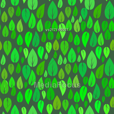 Summer Green Leaves Isolated On Green Background. Seamless Different Leaves Pattern Stock Photo