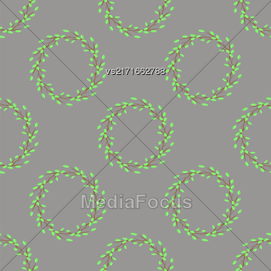 Summer Green Leaves Isolated On Grey Background. Seamless Leaves Pattern Stock Photo