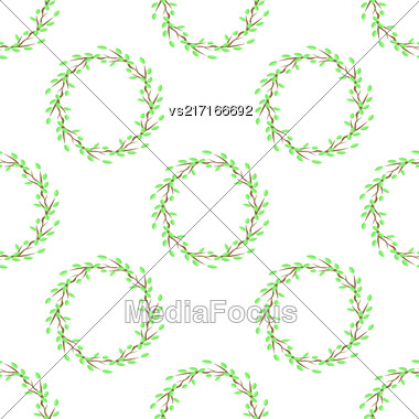 Summer Green Leaves Isolated On White Background. Seamless Leaves Pattern Stock Photo