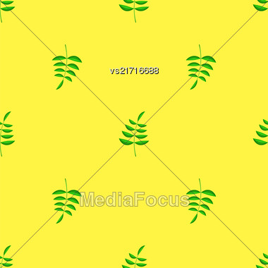 Summer Green Leaves Isolated On Yellow Background. Seamless Leaves Pattern Stock Photo