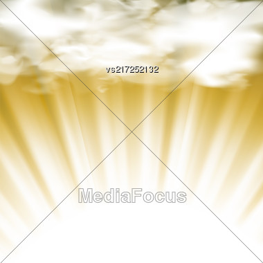 Summer Hot Sun Background With Clouds And Wave Blurred Rays Stock Photo