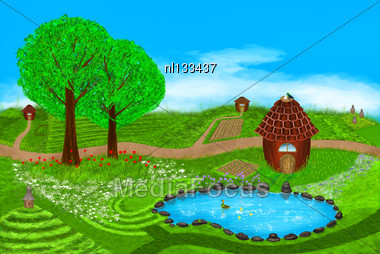 Summer Illustration. Fields, Flowers, Beehives, Lake, Ducks, Houses And More On This Beautiful Summer Illustration. Digital Art Style Stock Photo