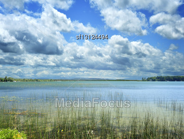 Summer Lake And A Blue Sky Stock Photo