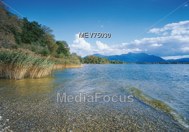 Summer Landscape with Lake & Mountains - Bavaria, Germany Stock Photo