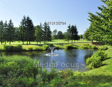 Summer Landscape With Pond And Golf Course Stock Photo