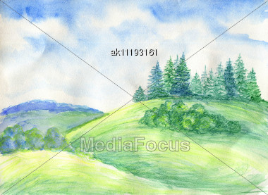 Summer Landscape. Really Watercolor Illustration Stock Photo