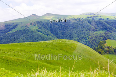 Summer Landscape With Russian Caucasus Green Mountains Stock Photo