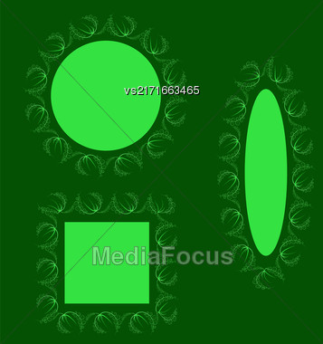 Summer Leaves Decorative Frames Isolated On Green Background Stock Photo