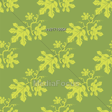 Summer Leaves Isolated On Green Background. Seamless Different Leaves Pattern Stock Photo