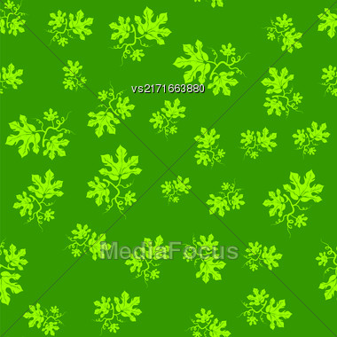 Summer Leaves Isolated On Green Background. Seamless Floral Pattern Stock Photo