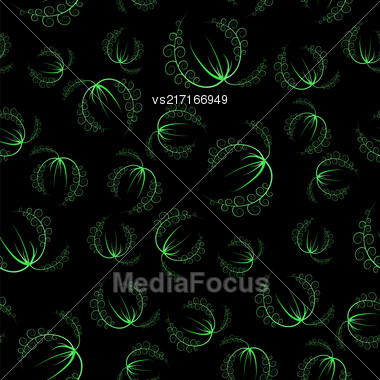 Summer Leaves Isolated On Green Background. Seamless Grass Pattern Stock Photo