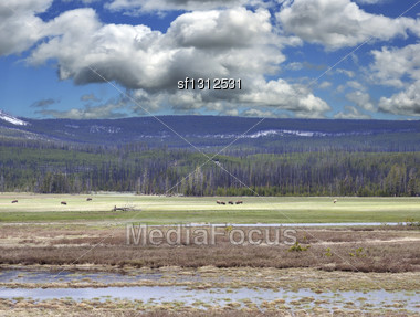 Summer Mountain Landscape With Beautiful Sky Stock Photo