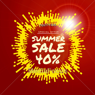 Summer Sale Vector Background Illustration With Rounded Lines Background Stock Photo