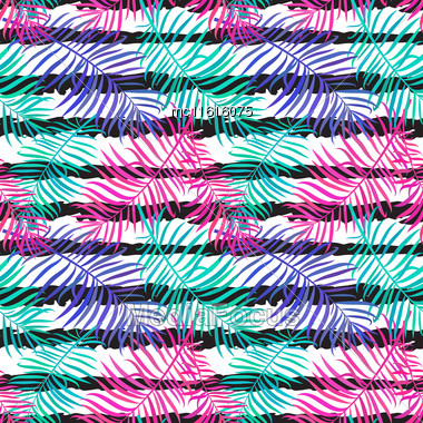Summer Seamless Background With Bright Palm Leaves On Ink Striped Background. Tropical Trendy Seamless Pattern With Exotic Palm Leaves. Textile Pattern Stock Photo