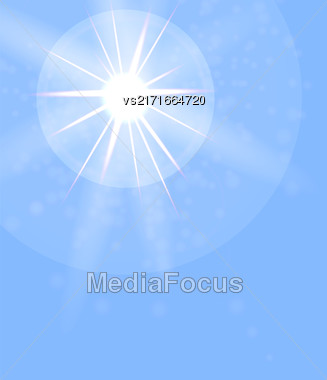 Summer Sun On Blue Sky Background. Sun Flare Stock Photo