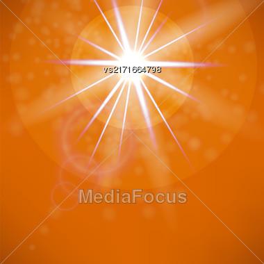 Summer Sun On Orange Sky Background. Sun Flare Stock Photo