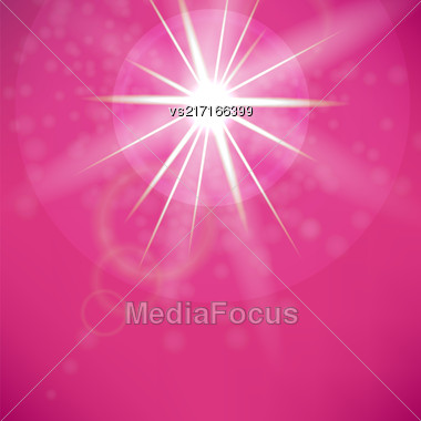 Summer Sun On Pink Sky Background. Sun Flare Stock Photo
