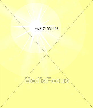 Summer Sun On Yellow Sky Background. Sun Flare Stock Photo