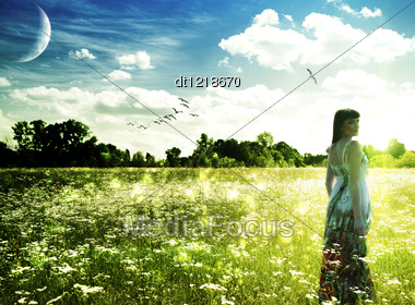 Summer Time On The Meadow. Abstract Female Portrait Stock Photo