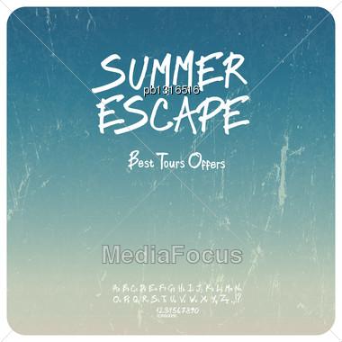 Summer Travel Set. Grunge Background With Hand-drawn Alphabet. Vector Stock Photo