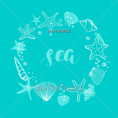 Summer Vector Circle Frame. Vector Background With Seashells, Sea Stars And Corals Stock Photo