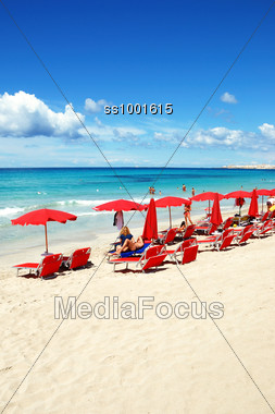 Summer view on the beach Stock Photo